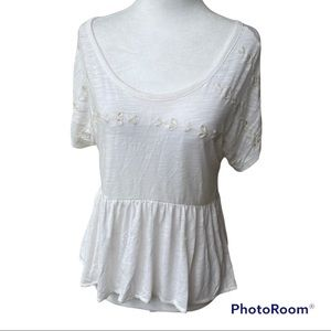American Eagle Ivory colored babydoll eyelet peplum top shirt women Size Small